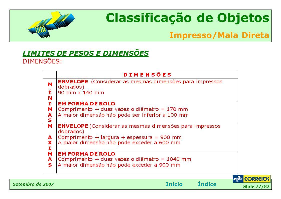 Slide 77/82 Setembro de 2007 Classificação de Objetos Impresso/Mala Direta InícioÍndice LIMITES DE PESOS E DIMENSÕES DIMENSÕES: