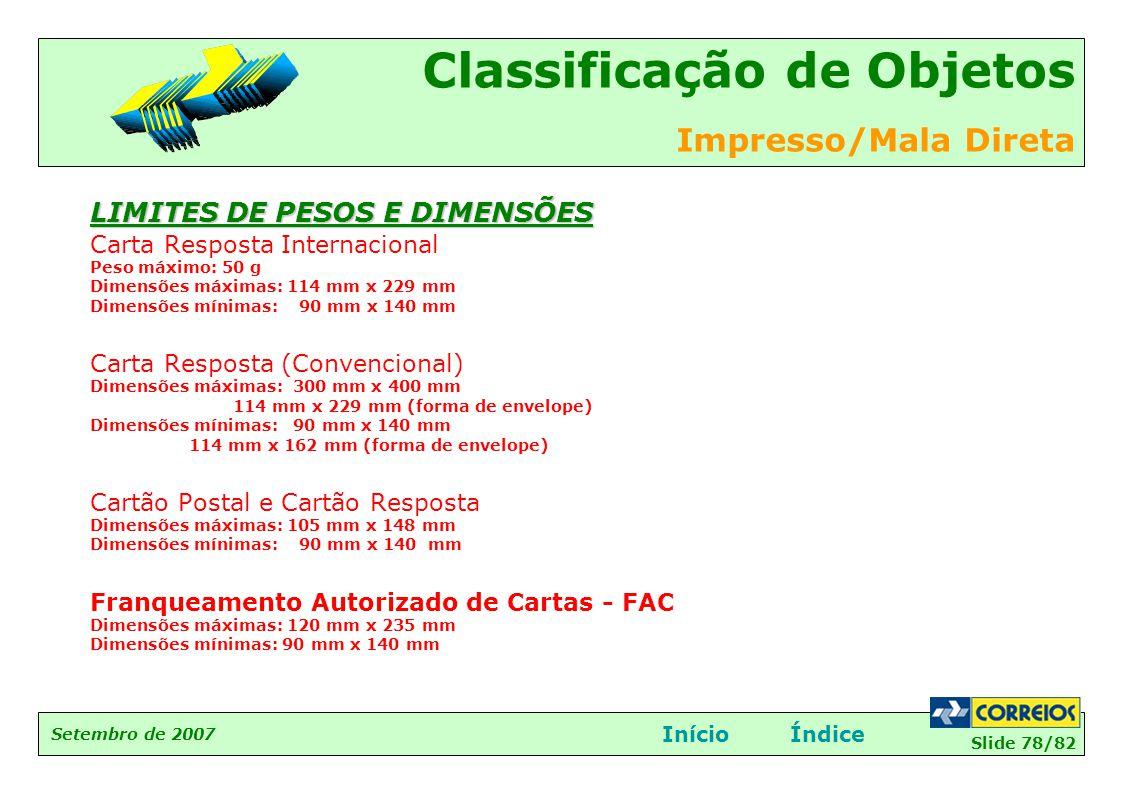 Slide 78/82 Setembro de 2007 Classificação de Objetos Impresso/Mala Direta InícioÍndice LIMITES DE PESOS E DIMENSÕES Carta Resposta Internacional Peso