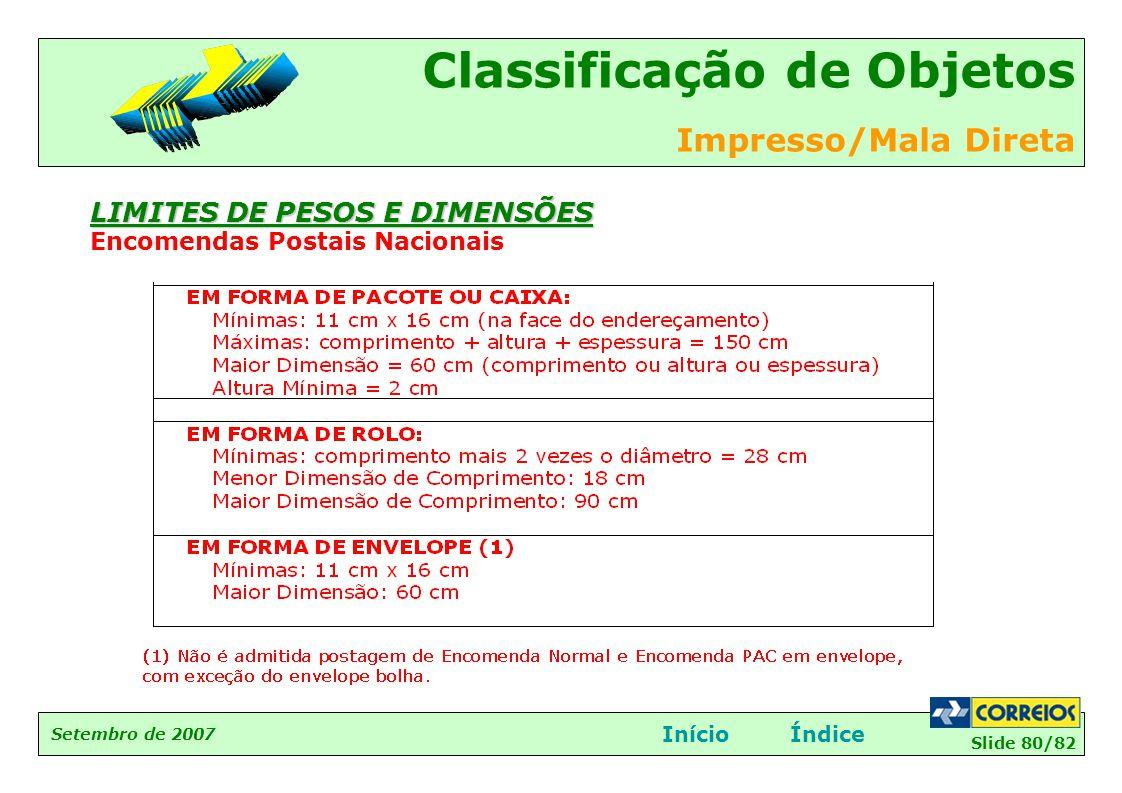 Slide 80/82 Setembro de 2007 Classificação de Objetos Impresso/Mala Direta InícioÍndice LIMITES DE PESOS E DIMENSÕES Encomendas Postais Nacionais