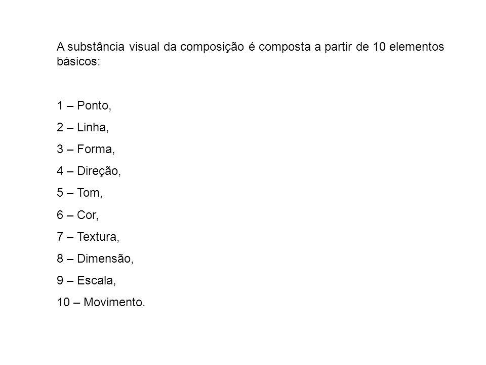 A substância visual da composição é composta a partir de 10 elementos básicos: 1 – Ponto, 2 – Linha, 3 – Forma, 4 – Direção, 5 – Tom, 6 – Cor, 7 – Tex