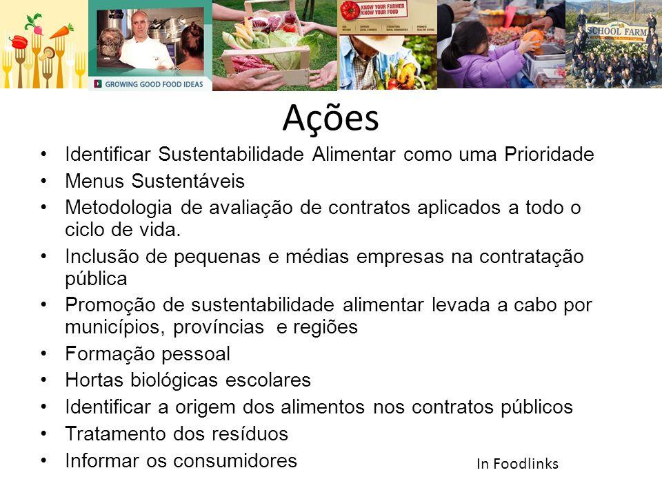 Ações •Identificar Sustentabilidade Alimentar como uma Prioridade •Menus Sustentáveis •Metodologia de avaliação de contratos aplicados a todo o ciclo de vida.