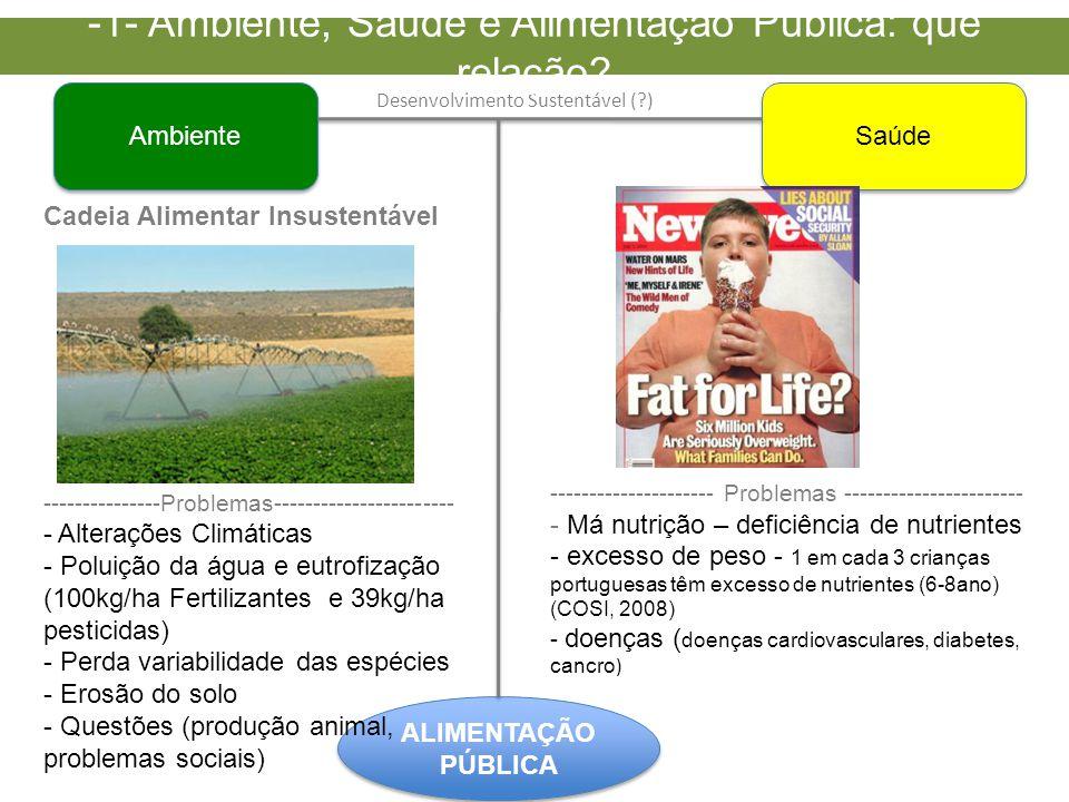 Ambiente Saúde ALIMENTAÇÃO PÚBLICA Cadeia Alimentar Insustentável ---------------Problemas----------------------- - Alterações Climáticas - Poluição da água e eutrofização (100kg/ha Fertilizantes e 39kg/ha pesticidas) - Perda variabilidade das espécies - Erosão do solo - Questões (produção animal, problemas sociais) --------------------- Problemas ----------------------- - Má nutrição – deficiência de nutrientes - excesso de peso - 1 em cada 3 crianças portuguesas têm excesso de nutrientes (6-8ano) (COSI, 2008) - doenças ( doenças cardiovasculares, diabetes, cancro ) Desenvolvimento Sustentável (?) -1- Ambiente, Saúde e Alimentação Pública: que relação?