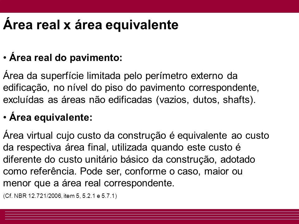 Área real x área equivalente • Área real do pavimento: Área da superfície limitada pelo perímetro externo da edificação, no nível do piso do pavimento correspondente, excluídas as áreas não edificadas (vazios, dutos, shafts).