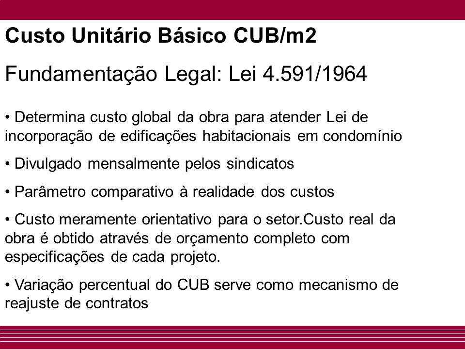 Custo Unitário Básico CUB/m2 Fundamentação Legal: Lei 4.591/1964 • Determina custo global da obra para atender Lei de incorporação de edificações habi