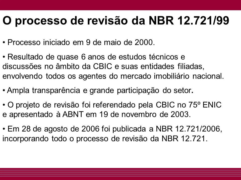 O processo de revisão da NBR 12.721/99 • Processo iniciado em 9 de maio de 2000. • Resultado de quase 6 anos de estudos técnicos e discussões no âmbit