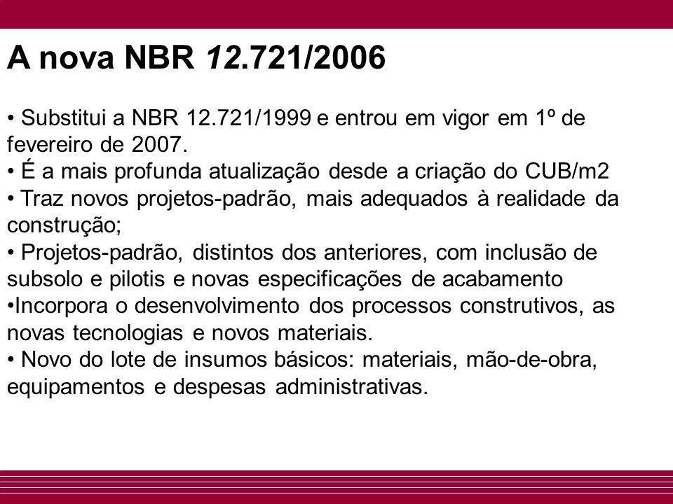 • Substitui a NBR 12.721/1999 e entrou em vigor em 1º de fevereiro de 2007. • É a mais profunda atualização desde a criação do CUB/m2 • Traz novos pro