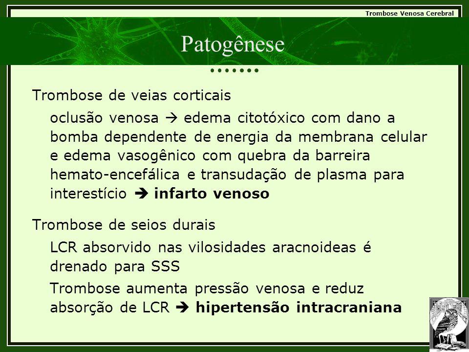 Trombose Venosa Cerebral Patogênese Trombose de veias corticais oclusão venosa  edema citotóxico com dano a bomba dependente de energia da membrana c