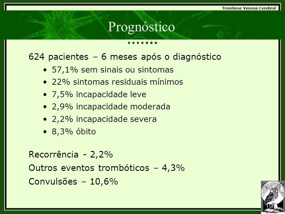 Trombose Venosa Cerebral Prognóstico 624 pacientes – 6 meses após o diagnóstico •57,1% sem sinais ou sintomas •22% sintomas residuais mínimos •7,5% in
