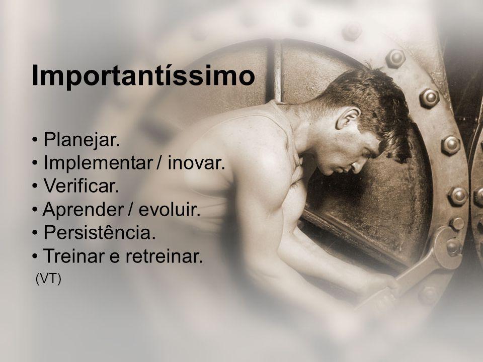 • Planejar. • Implementar / inovar. • Verificar. • Aprender / evoluir. • Persistência. • Treinar e retreinar. (VT) Importantíssimo