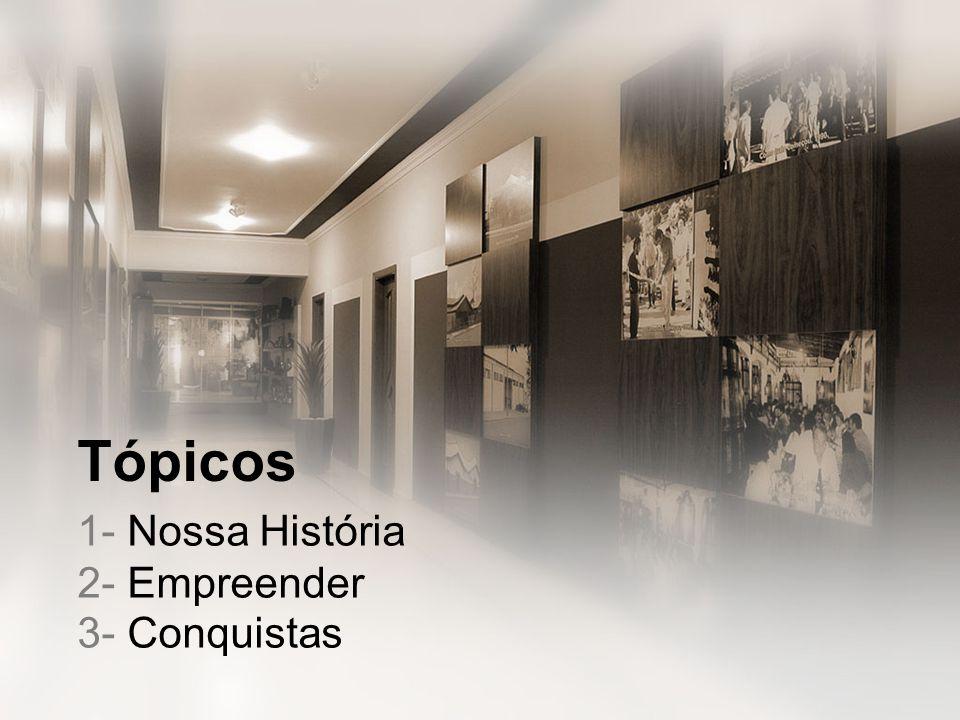 1- Nossa História 2- Empreender 3- Conquistas Tópicos