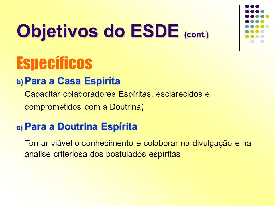 Objetivos do ESDE (cont.) Específicos b) Para a Casa Espírita Capacitar colaboradores Espíritas, esclarecidos e comprometidos com a Doutrina ; c) Para