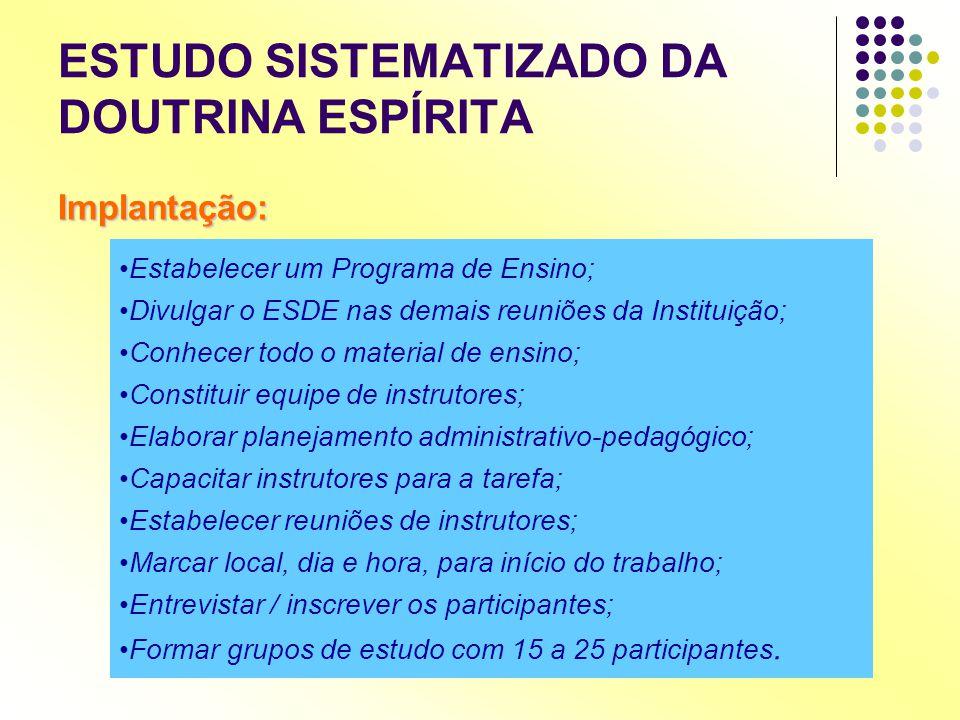 ESTUDO SISTEMATIZADO DA DOUTRINA ESPÍRITA Implantação: •Estabelecer um Programa de Ensino; •Divulgar o ESDE nas demais reuniões da Instituição; •Conhe