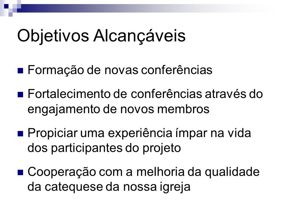 Objetivos Alcançáveis  Formação de novas conferências  Fortalecimento de conferências através do engajamento de novos membros  Propiciar uma experi