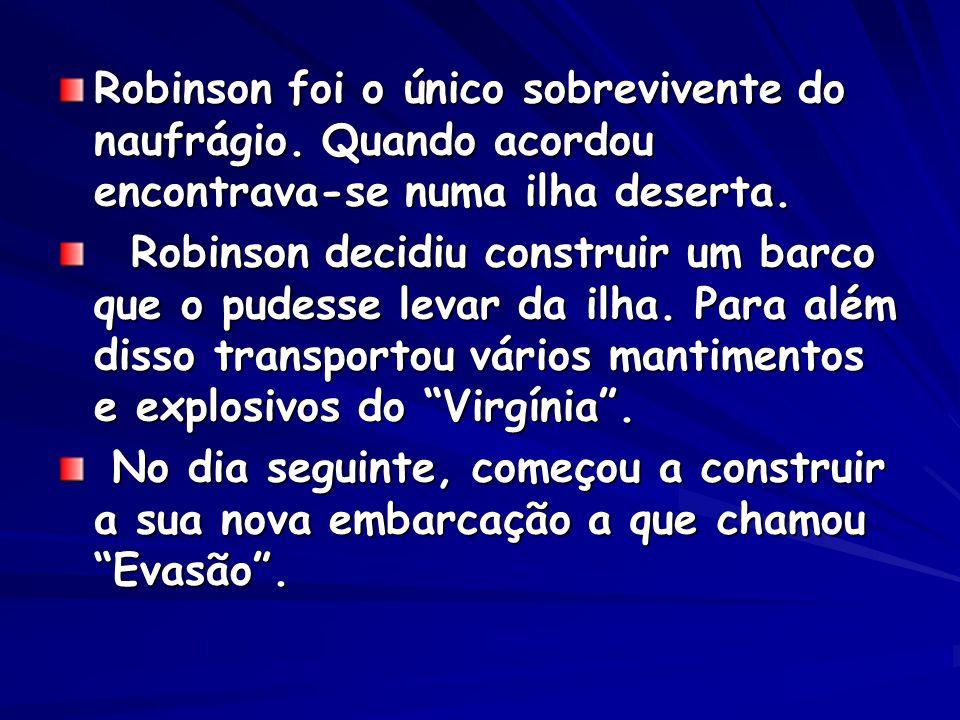 Robinson foi o único sobrevivente do naufrágio.Quando acordou encontrava-se numa ilha deserta.