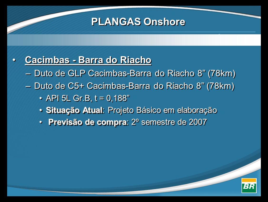 PLANGAS Onshore • Cacimbas - Barra do Riacho –Duto de GLP Cacimbas-Barra do Riacho 8 (78km) –Duto de C5+ Cacimbas-Barra do Riacho 8 (78km) •API 5L Gr.B, t = 0,188 •Situação Atual •Situação Atual: Projeto Básico em elaboração Previsão de compra • Previsão de compra: 2º semestre de 2007 • Cacimbas - Barra do Riacho –Duto de GLP Cacimbas-Barra do Riacho 8 (78km) –Duto de C5+ Cacimbas-Barra do Riacho 8 (78km) •API 5L Gr.B, t = 0,188 •Situação Atual •Situação Atual: Projeto Básico em elaboração Previsão de compra • Previsão de compra: 2º semestre de 2007