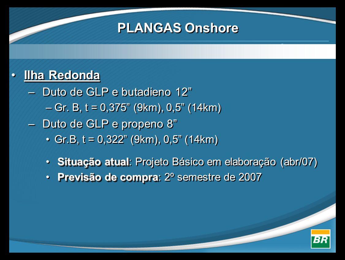 "•Ilha Redonda – Duto de GLP e butadieno 12"" –Gr. B, t = 0,375"" (9km), 0,5"" (14km) – Duto de GLP e propeno 8"" •Gr.B, t = 0,322"" (9km), 0,5"" (14km) Situ"