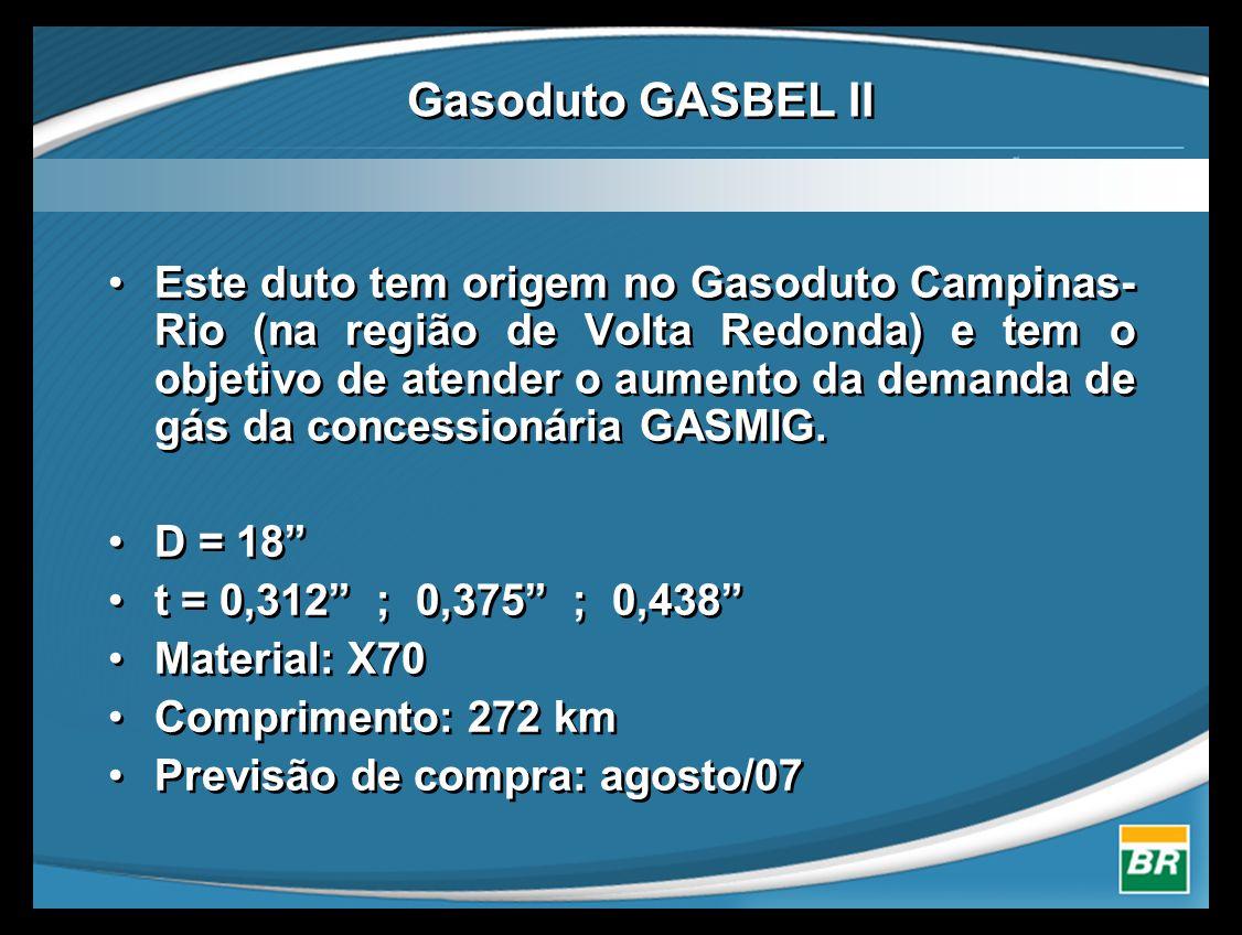 •Este duto tem origem no Gasoduto Campinas- Rio (na região de Volta Redonda) e tem o objetivo de atender o aumento da demanda de gás da concessionária GASMIG.