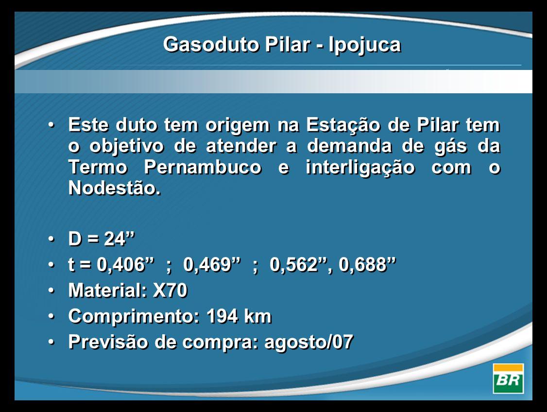 """•Este duto tem origem na Estação de Pilar tem o objetivo de atender a demanda de gás da Termo Pernambuco e interligação com o Nodestão. •D = 24"""" •t ="""