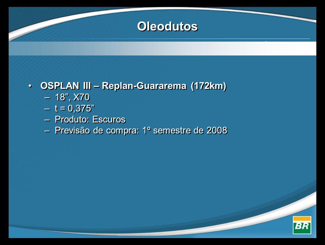 Oleodutos •OSPLAN III – Replan-Guararema (172km) –18 , X70 –t = 0,375 –Produto: Escuros –Previsão de compra: 1º semestre de 2008 •OSPLAN III – Replan-Guararema (172km) –18 , X70 –t = 0,375 –Produto: Escuros –Previsão de compra: 1º semestre de 2008