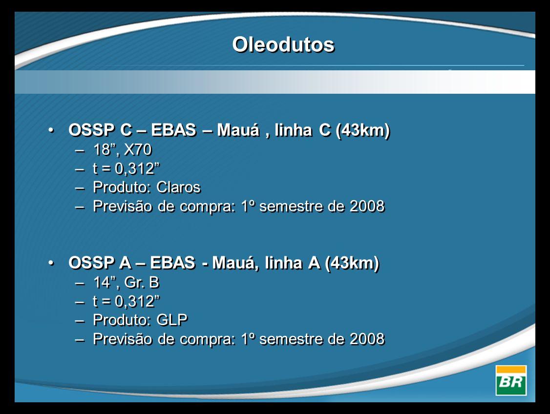"""Oleodutos •OSSP C – EBAS – Mauá, linha C (43km) –18"""", X70 –t = 0,312"""" –Produto: Claros –Previsão de compra: 1º semestre de 2008 •OSSP A – EBAS - Mauá,"""