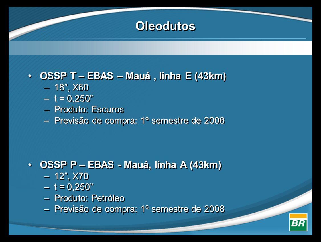 """Oleodutos •OSSP T – EBAS – Mauá, linha E (43km) –18"""", X60 –t = 0,250"""" –Produto: Escuros –Previsão de compra: 1º semestre de 2008 •OSSP P – EBAS - Mauá"""