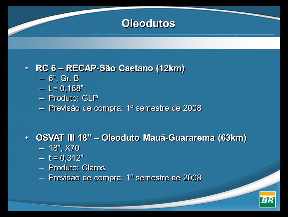 """Oleodutos •RC 6 – RECAP-São Caetano (12km) –6"""", Gr. B –t = 0,188"""" –Produto: GLP –Previsão de compra: 1º semestre de 2008 •OSVAT III 18"""" – Oleoduto Mau"""