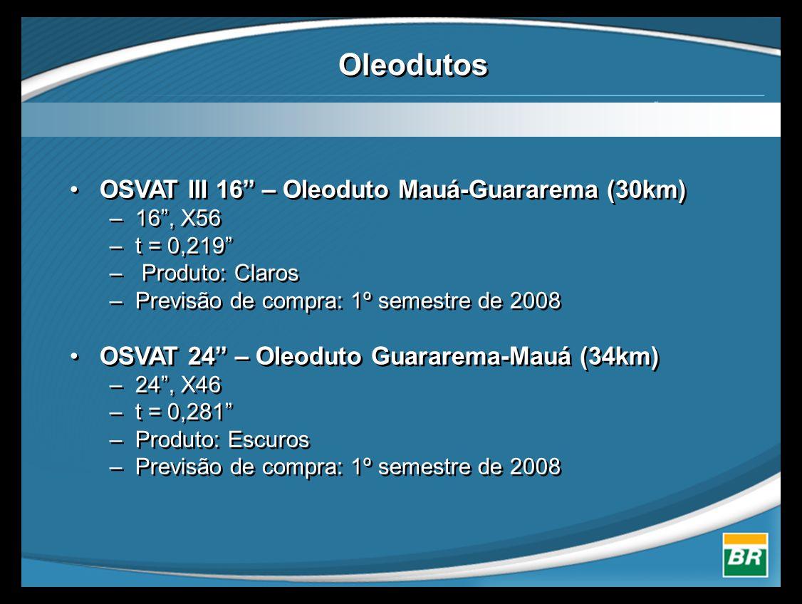 Oleodutos •OSVAT III 16 – Oleoduto Mauá-Guararema (30km) –16 , X56 –t = 0,219 – Produto: Claros –Previsão de compra: 1º semestre de 2008 •OSVAT 24 – Oleoduto Guararema-Mauá (34km) –24 , X46 –t = 0,281 –Produto: Escuros –Previsão de compra: 1º semestre de 2008 •OSVAT III 16 – Oleoduto Mauá-Guararema (30km) –16 , X56 –t = 0,219 – Produto: Claros –Previsão de compra: 1º semestre de 2008 •OSVAT 24 – Oleoduto Guararema-Mauá (34km) –24 , X46 –t = 0,281 –Produto: Escuros –Previsão de compra: 1º semestre de 2008