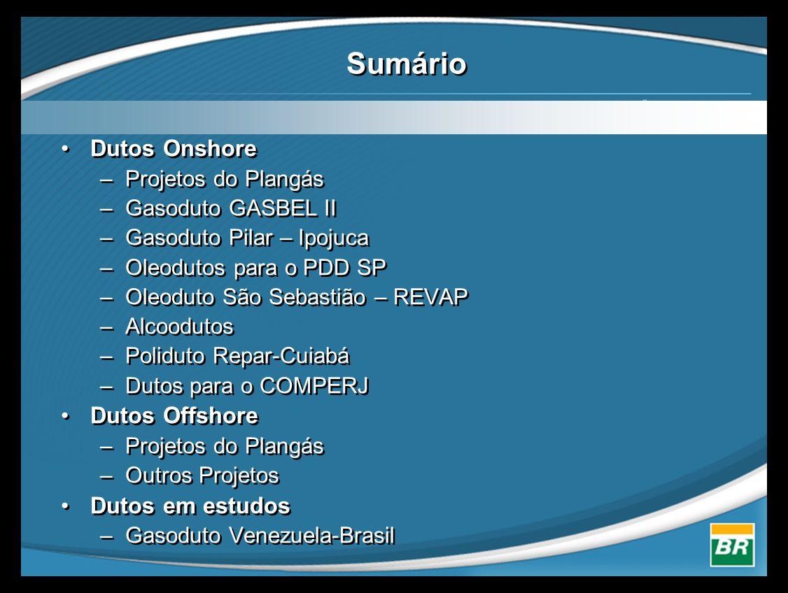 Sumário •Dutos Onshore –Projetos do Plangás –Gasoduto GASBEL II –Gasoduto Pilar – Ipojuca –Oleodutos para o PDD SP –Oleoduto São Sebastião – REVAP –Alcoodutos –Poliduto Repar-Cuiabá –Dutos para o COMPERJ •Dutos Offshore –Projetos do Plangás –Outros Projetos •Dutos em estudos –Gasoduto Venezuela-Brasil •Dutos Onshore –Projetos do Plangás –Gasoduto GASBEL II –Gasoduto Pilar – Ipojuca –Oleodutos para o PDD SP –Oleoduto São Sebastião – REVAP –Alcoodutos –Poliduto Repar-Cuiabá –Dutos para o COMPERJ •Dutos Offshore –Projetos do Plangás –Outros Projetos •Dutos em estudos –Gasoduto Venezuela-Brasil