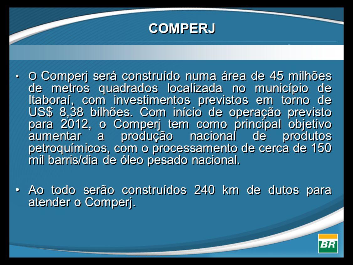 COMPERJ •O Comperj será construído numa área de 45 milhões de metros quadrados localizada no município de Itaboraí, com investimentos previstos em torno de US$ 8,38 bilhões.
