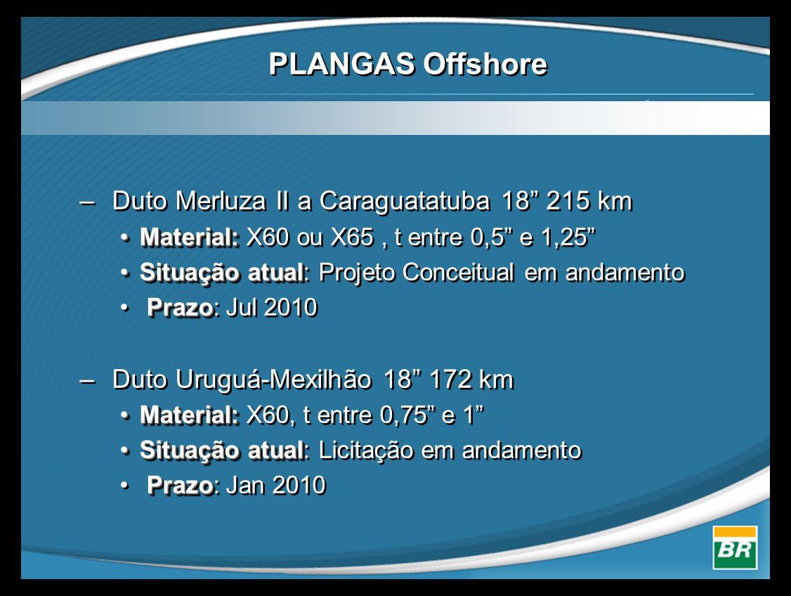 """– Duto Merluza II a Caraguatatuba 18"""" 215 km •Material: •Material: X60 ou X65, t entre 0,5"""" e 1,25"""" •Situação atual •Situação atual: Projeto Conceitua"""
