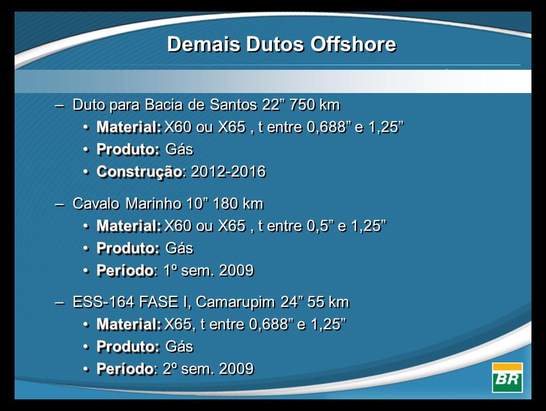 –Duto para Bacia de Santos 22 750 km •Material: •Material: X60 ou X65, t entre 0,688 e 1,25 •Produto: •Produto: Gás •Construção •Construção: 2012-2016 –Cavalo Marinho 10 180 km •Material: •Material: X60 ou X65, t entre 0,5 e 1,25 •Produto: •Produto: Gás •Período •Período: 1º sem.