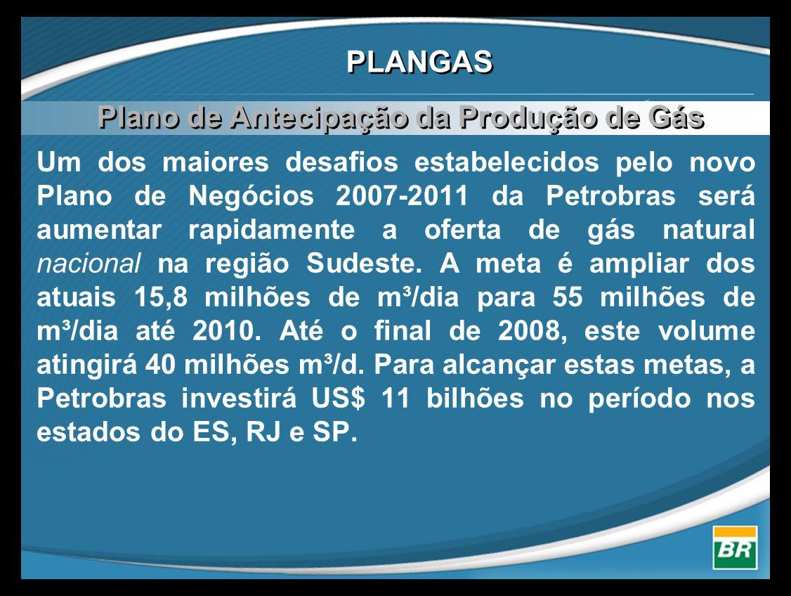 PLANGAS Um dos maiores desafios estabelecidos pelo novo Plano de Negócios 2007-2011 da Petrobras será aumentar rapidamente a oferta de gás natural nacional na região Sudeste.
