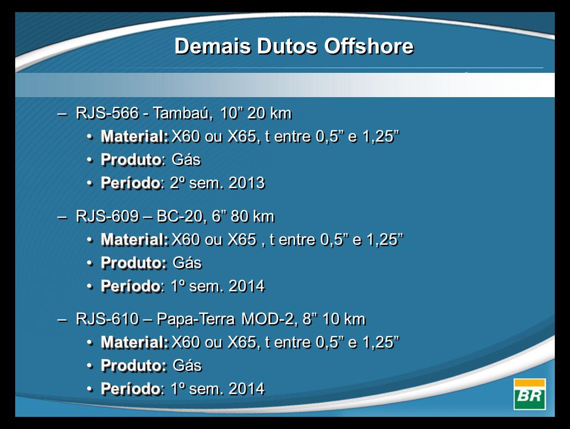 """–RJS-566 - Tambaú, 10"""" 20 km •Material: •Material: X60 ou X65, t entre 0,5"""" e 1,25"""" •Produto •Produto: Gás •Período •Período: 2º sem. 2013 –RJS-609 –"""