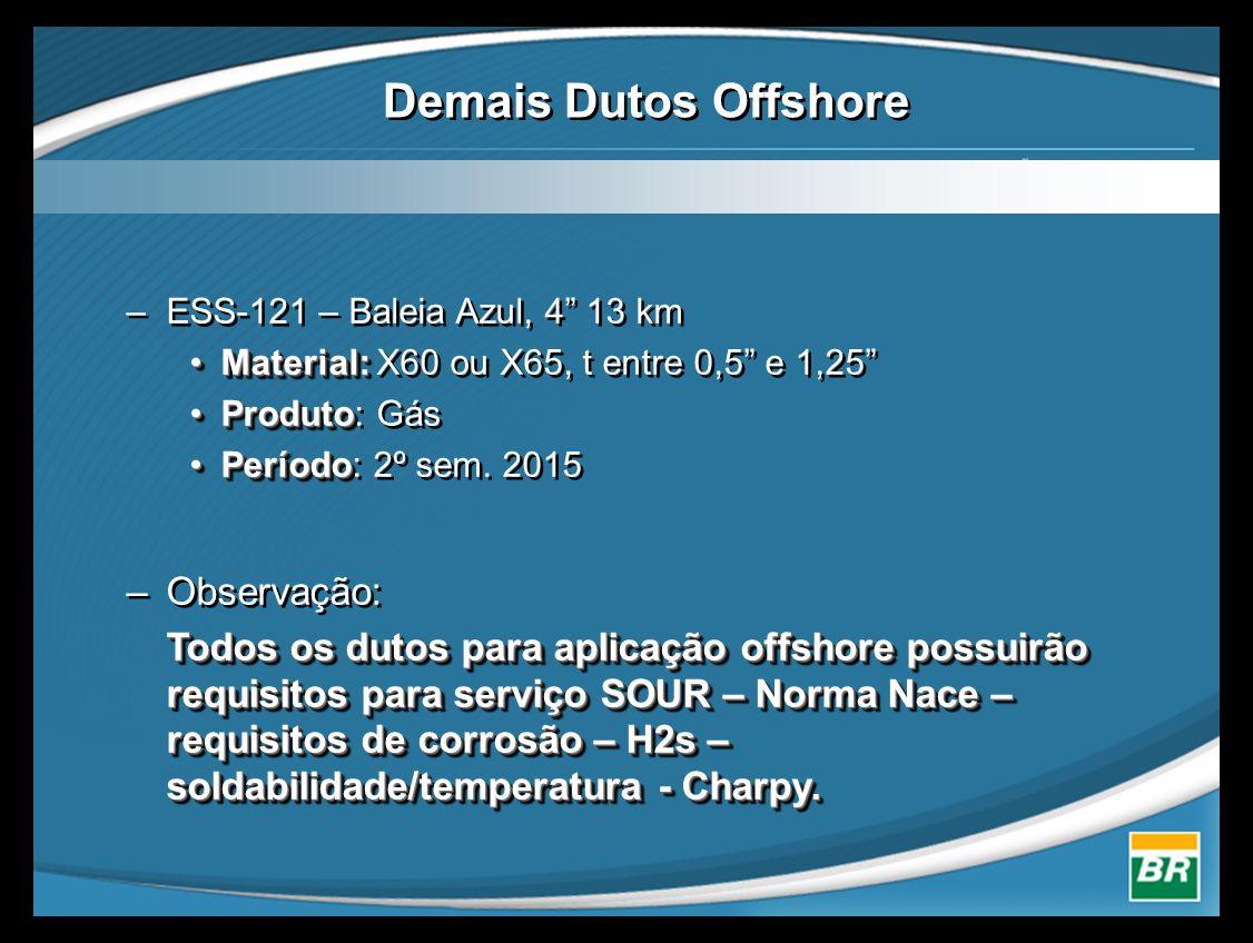"""–ESS-121 – Baleia Azul, 4"""" 13 km •Material: •Material: X60 ou X65, t entre 0,5"""" e 1,25"""" •Produto •Produto: Gás •Período •Período: 2º sem. 2015 –Observ"""