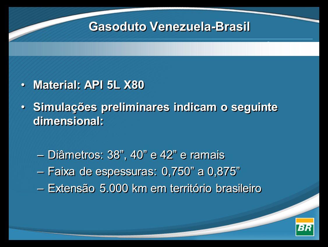 •Material: API 5L X80 •Simulações preliminares indicam o seguinte dimensional: –Diâmetros: 38 , 40 e 42 e ramais –Faixa de espessuras: 0,750 a 0,875 –Extensão 5.000 km em território brasileiro •Material: API 5L X80 •Simulações preliminares indicam o seguinte dimensional: –Diâmetros: 38 , 40 e 42 e ramais –Faixa de espessuras: 0,750 a 0,875 –Extensão 5.000 km em território brasileiro