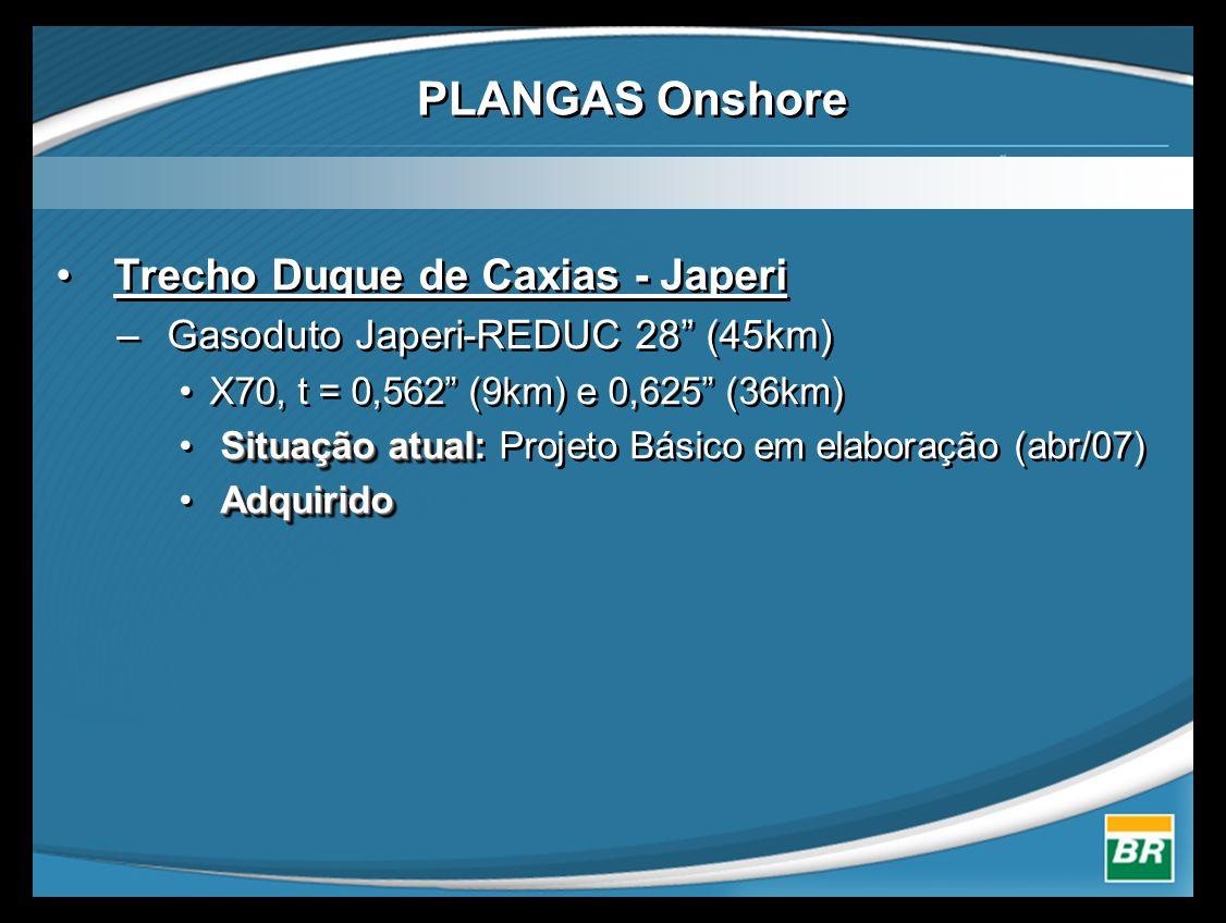 • Trecho Duque de Caxias - Japeri – Gasoduto Japeri-REDUC 28 (45km) •X70, t = 0,562 (9km) e 0,625 (36km) Situação atual • Situação atual: Projeto Básico em elaboração (abr/07) Adquirido • Adquirido • Trecho Duque de Caxias - Japeri – Gasoduto Japeri-REDUC 28 (45km) •X70, t = 0,562 (9km) e 0,625 (36km) Situação atual • Situação atual: Projeto Básico em elaboração (abr/07) Adquirido • Adquirido PLANGAS Onshore