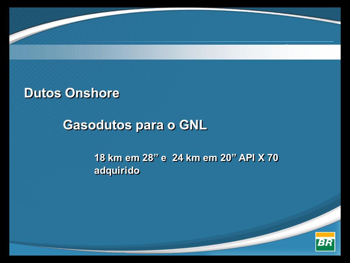 """Dutos Onshore Gasodutos para o GNL 18 km em 28"""" e 24 km em 20"""" API X 70 adquirido"""