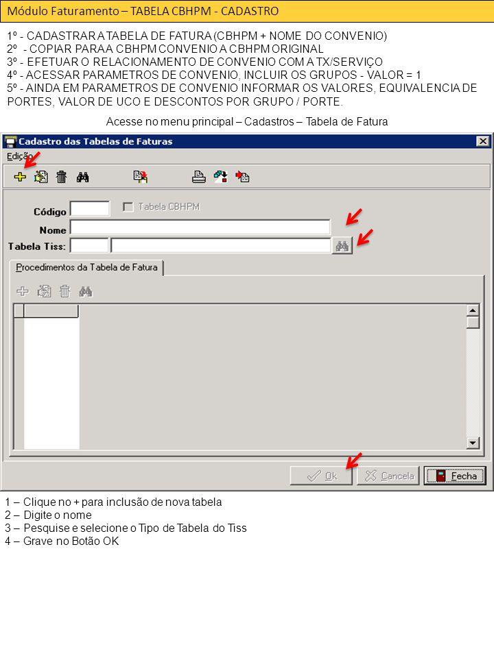 Módulo Faturamento – TABELA CBHPM - CADASTRO 1º - CADASTRAR A TABELA DE FATURA (CBHPM + NOME DO CONVENIO) 2º - COPIAR PARA A CBHPM CONVENIO A CBHPM ORIGINAL 3º - EFETUAR O RELACIONAMENTO DE CONVENIO COM A TX/SERVIÇO 4º - ACESSAR PARAMETROS DE CONVENIO, INCLUIR OS GRUPOS - VALOR = 1 5º - AINDA EM PARAMETROS DE CONVENIO INFORMAR OS VALORES, EQUIVALENCIA DE PORTES, VALOR DE UCO E DESCONTOS POR GRUPO / PORTE.