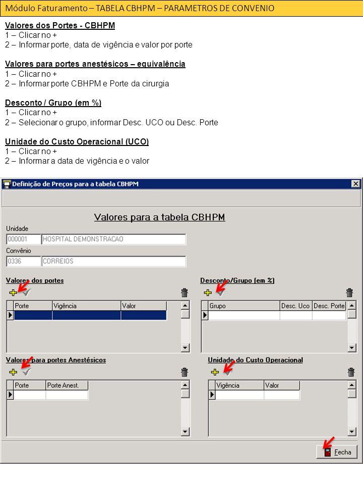 Módulo Faturamento – TABELA CBHPM – PARAMETROS DE CONVENIO Valores dos Portes - CBHPM 1 – Clicar no + 2 – Informar porte, data de vigência e valor por porte Valores para portes anestésicos – equivalência 1 – Clicar no + 2 – Informar porte CBHPM e Porte da cirurgia Desconto / Grupo (em %) 1 – Clicar no + 2 – Selecionar o grupo, informar Desc.