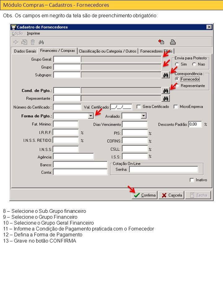 Módulo Compras – Cadastros - Fornecedores Obs.