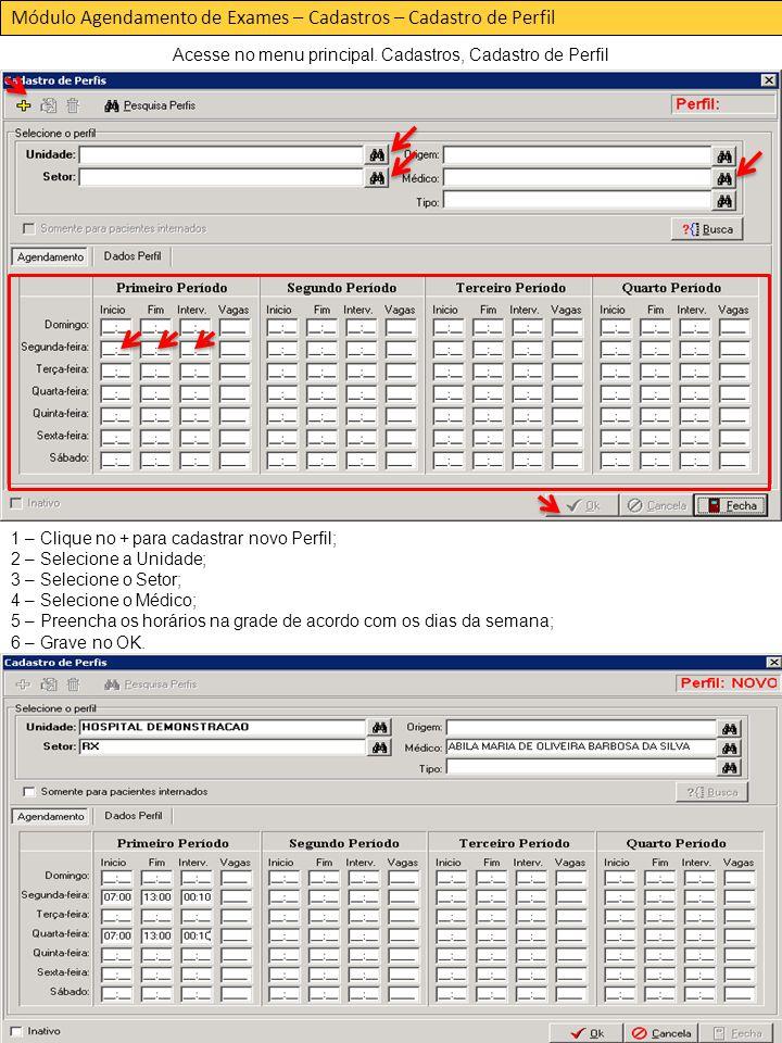 Módulo Agendamento de Exames – Cadastros – Cadastro de Perfil Acesse no menu principal.