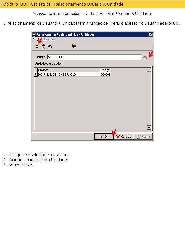 Módulo DDI –Cadastros – Relacionamento Usuário X Unidade Acesse no menu principal – Cadastros – Rel.