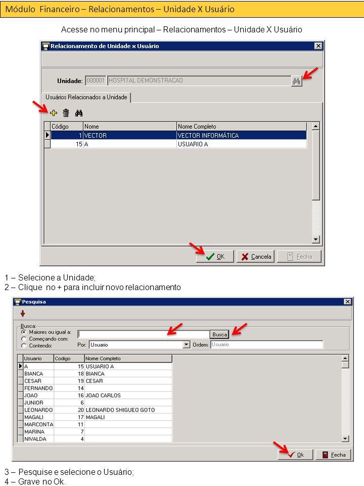 Módulo Financeiro – Relacionamentos – Unidade X Usuário Acesse no menu principal – Relacionamentos – Unidade X Usuário 1 – Selecione a Unidade; 2 – Clique no + para incluir novo relacionamento 3 – Pesquise e selecione o Usuário; 4 – Grave no Ok.