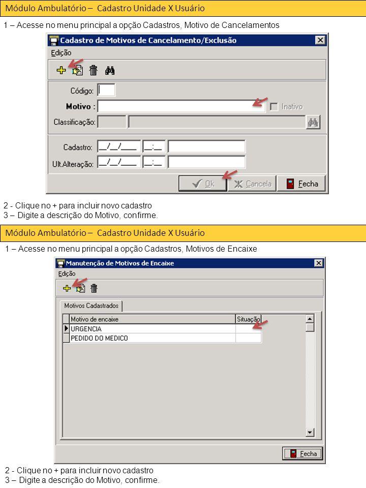 Módulo Ambulatório – Cadastro Unidade X Usuário 2 - Clique no + para incluir novo cadastro 3 – Digite a descrição do Motivo, confirme.