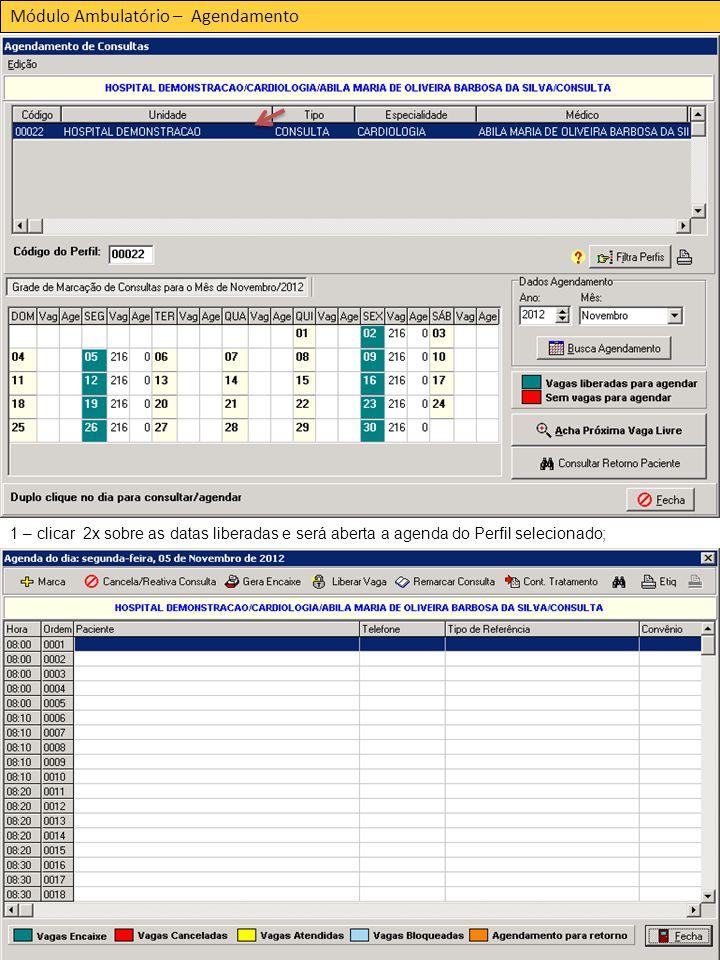 Módulo Ambulatório – Agendamento 1 – clicar 2x sobre as datas liberadas e será aberta a agenda do Perfil selecionado;