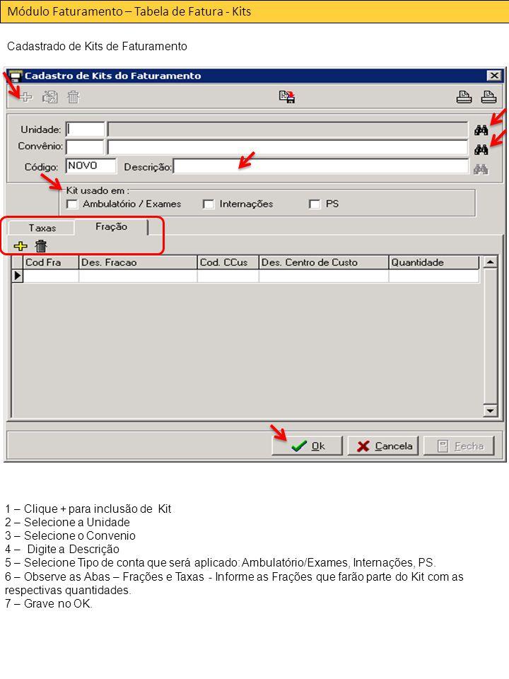 Módulo Faturamento – Tabela de Fatura - Kits Cadastrado de Kits de Faturamento 1 – Clique + para inclusão de Kit 2 – Selecione a Unidade 3 – Selecione o Convenio 4 – Digite a Descrição 5 – Selecione Tipo de conta que será aplicado: Ambulatório/Exames, Internações, PS.