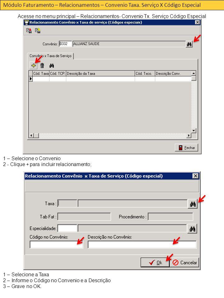 Módulo Faturamento – Relacionamentos – Convenio Taxa.