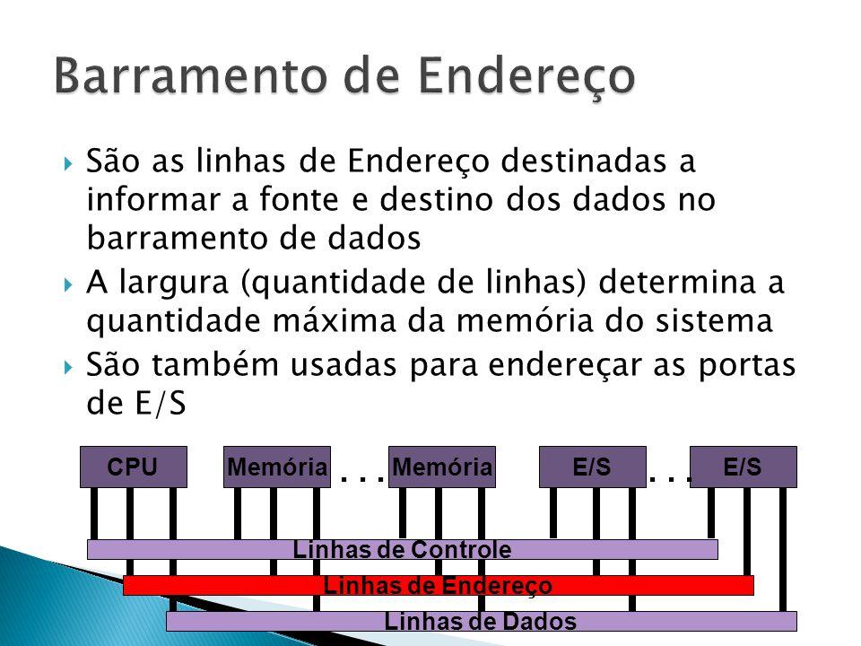  São as linhas de Endereço destinadas a informar a fonte e destino dos dados no barramento de dados  A largura (quantidade de linhas) determina a qu