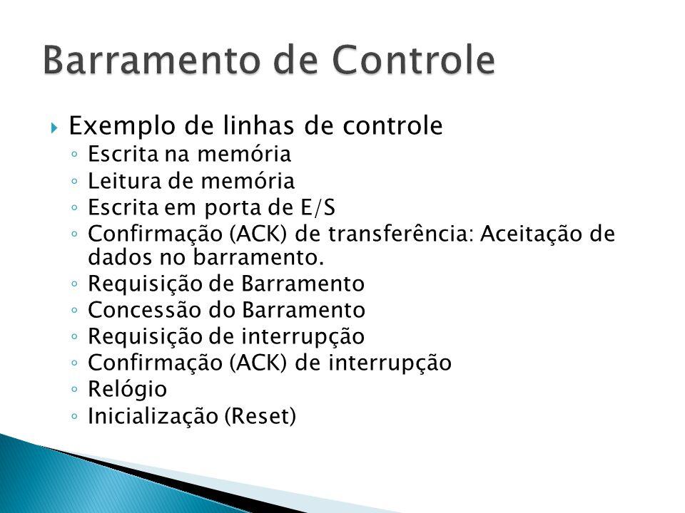  Exemplo de linhas de controle ◦ Escrita na memória ◦ Leitura de memória ◦ Escrita em porta de E/S ◦ Confirmação (ACK) de transferência: Aceitação de