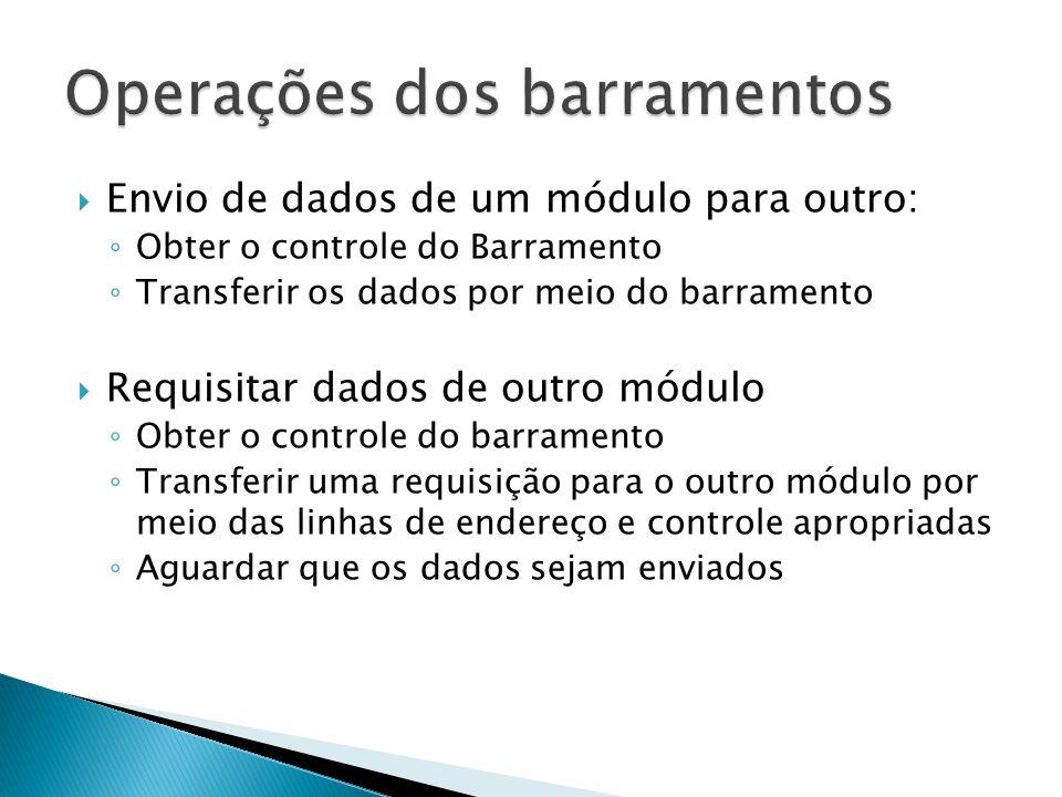  Envio de dados de um módulo para outro: ◦ Obter o controle do Barramento ◦ Transferir os dados por meio do barramento  Requisitar dados de outro mó